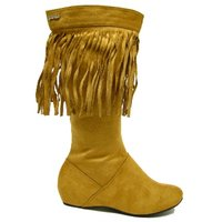 View Item NEW CAMEL TASSEL FLAT SUEDE EFFECT BOHO BOOTS SIZE 3-8